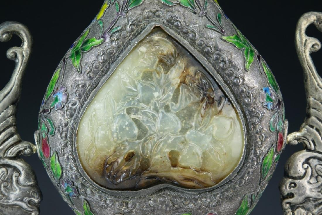 A Chinese Jade Inlaid Cloisonne Bronze Vase - 6