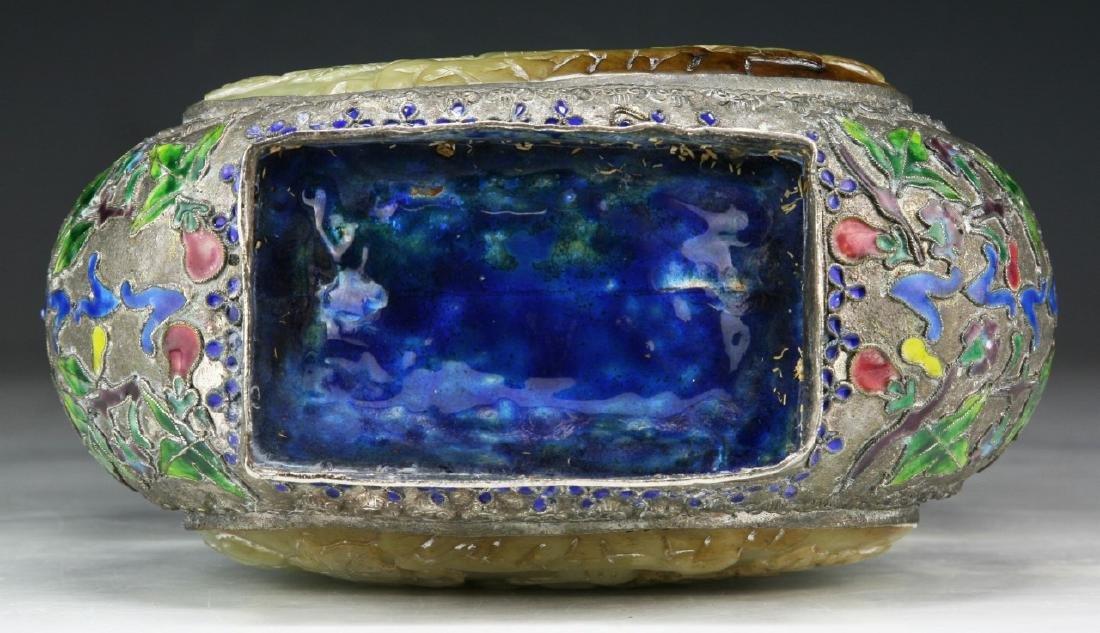 A Chinese Jade Inlaid Cloisonne Bronze Vase - 8