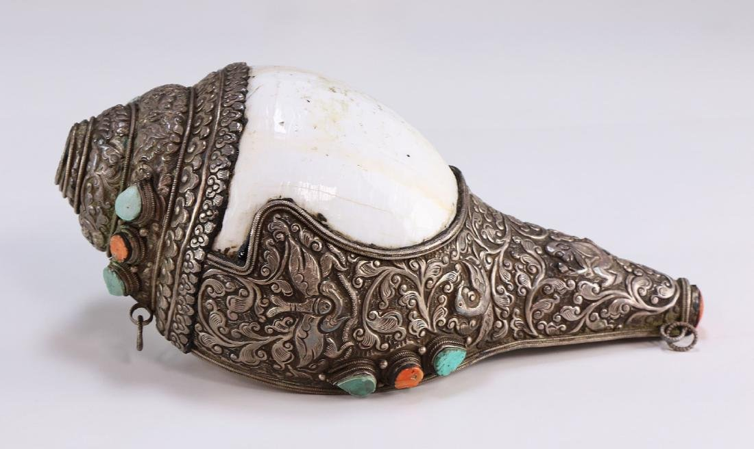 A Chinese Metal Jeweled Conch Shell