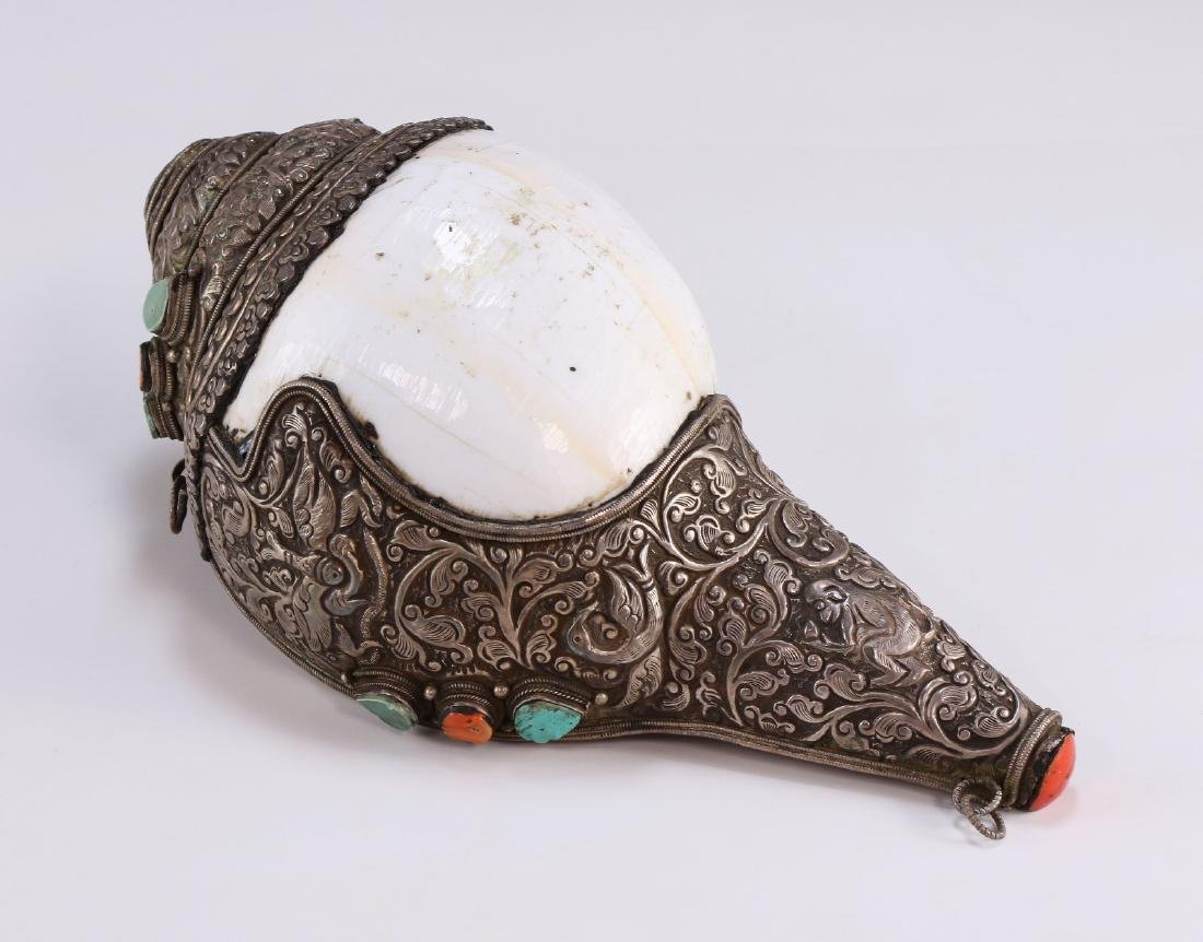 A Chinese Metal Jeweled Conch Shell - 2