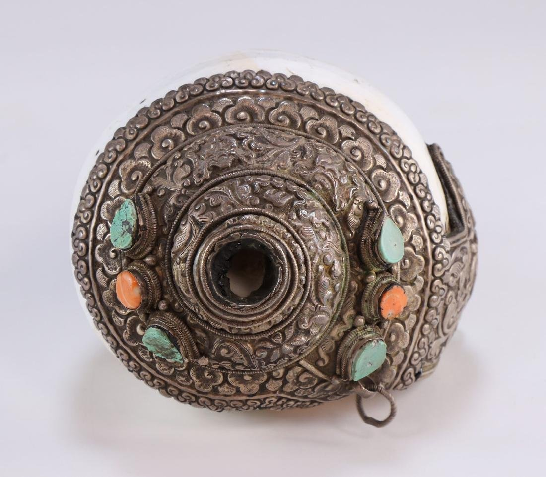 A Chinese Metal Jeweled Conch Shell - 4
