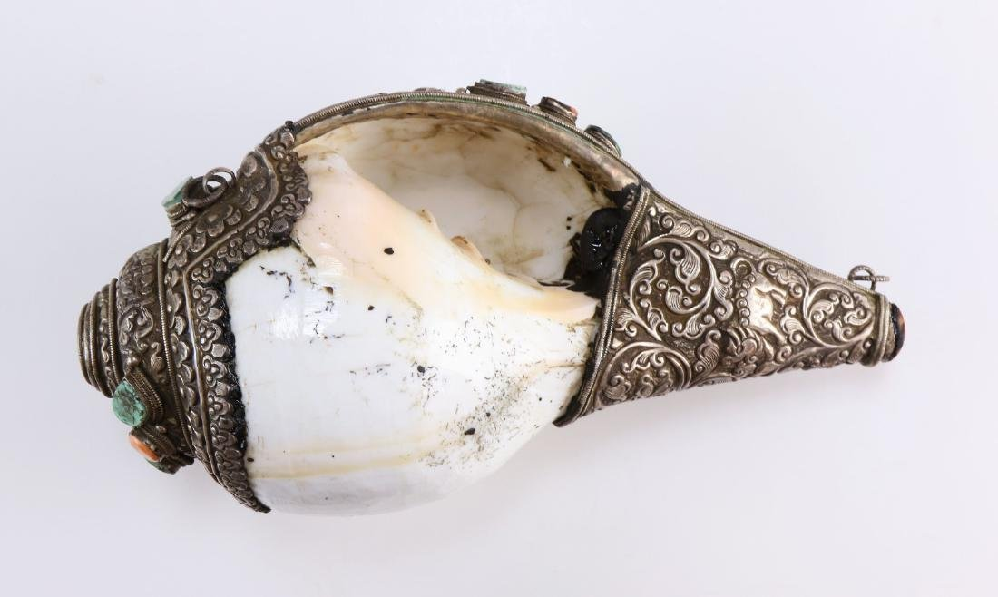 A Chinese Metal Jeweled Conch Shell - 7