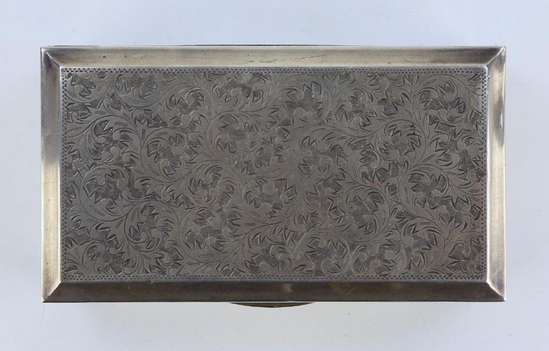 JAPANESE STERLING SILVER AND WOOD TRINKET BOX - 2