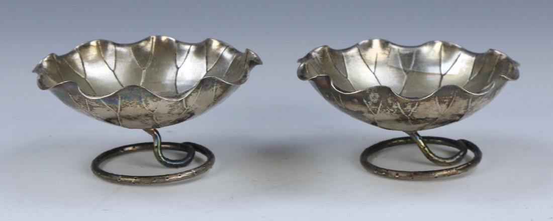 PAIR CHINESE SILVER STEM BOWLS