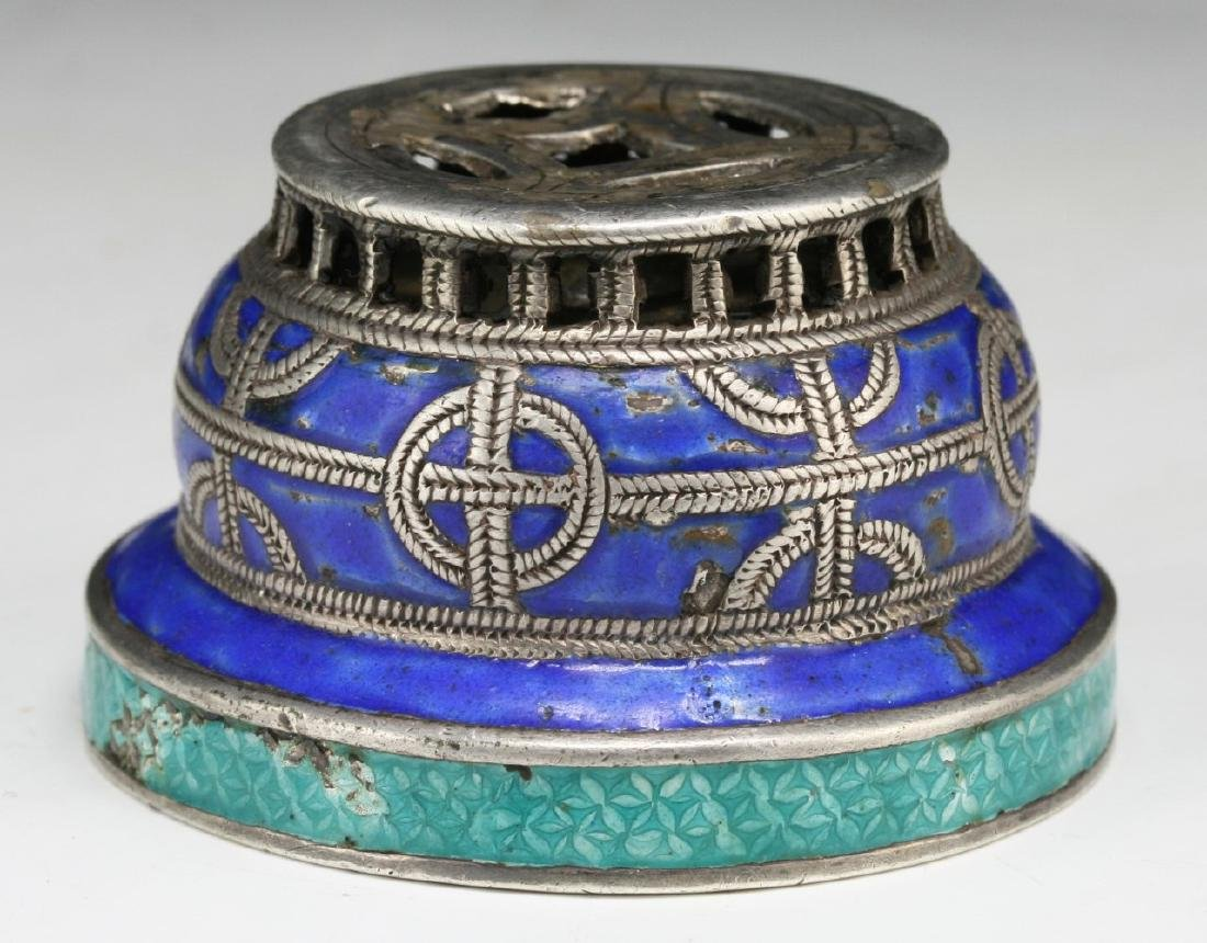 A CHINESE CLOISONNE ON SILVER CENSER