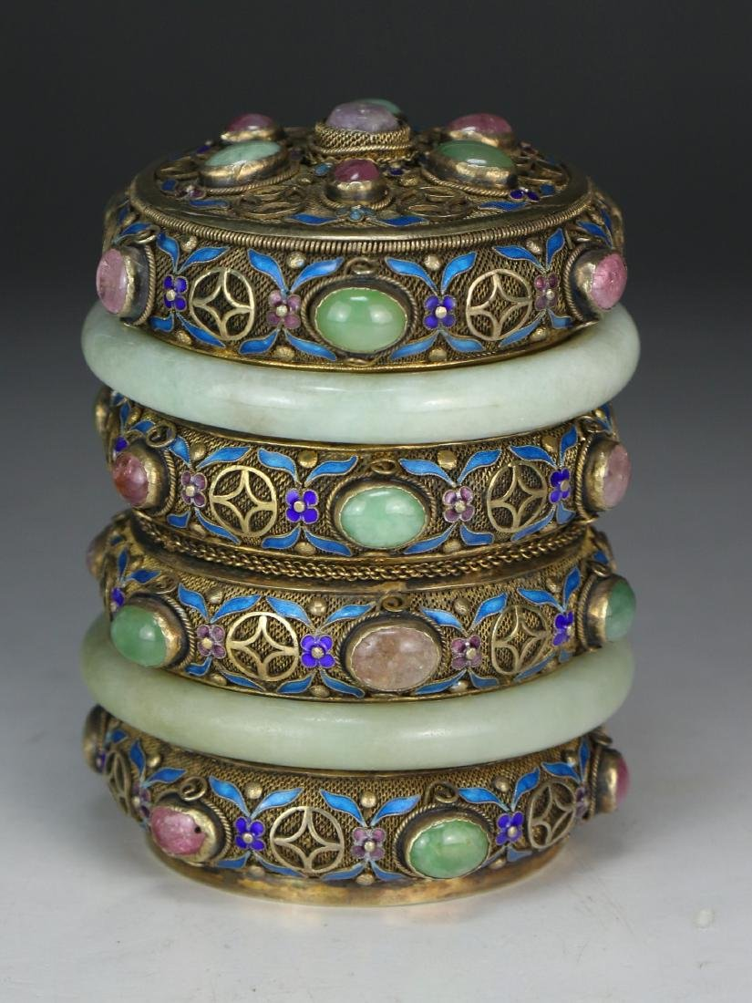 A CHINESE JEWELED CLOISONNE LIDDED TEA CAN
