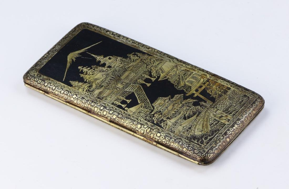 A JAPANESE GILT INLAID CIGARETTE CASE