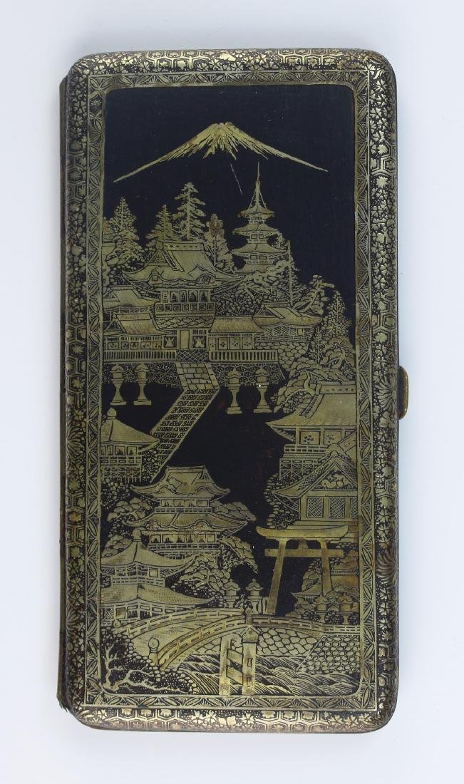 A JAPANESE GILT INLAID CIGARETTE CASE - 2