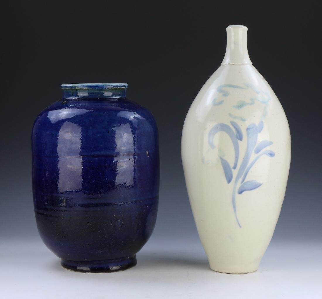 TWO (2) BLUE AND WHITE GLAZED PORCELAIN VASES