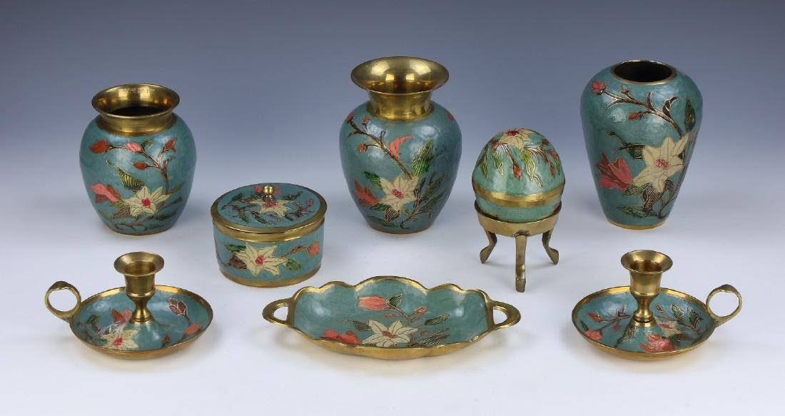 EIGHT (8) EUROPEAN CLOISONNE SET