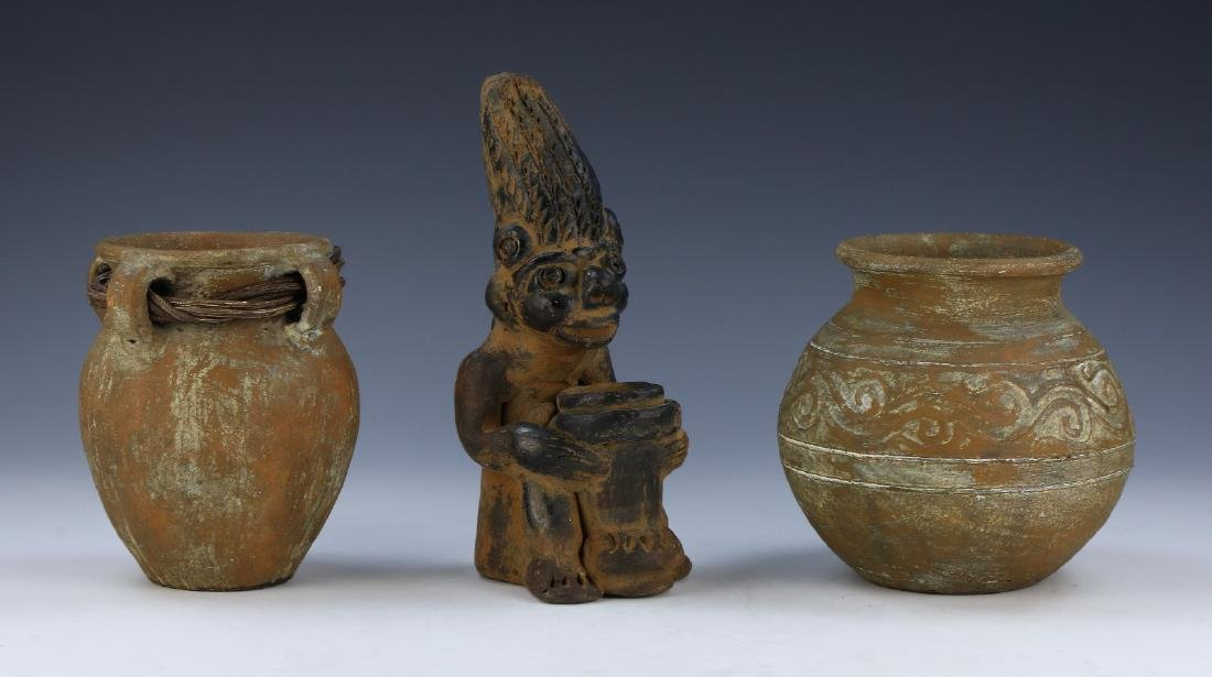 THREE (3) PACIFIC ISLAND POTTERY FIGURE AND VASES