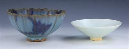 TWO (2) CHINESE JUN KILN AND CELADON PORCELAIN BOWLS