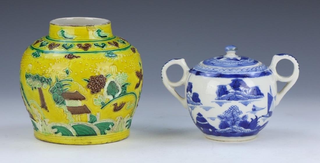 TWO (2) CHINESE PORCELAIN TEAPOT & VASE
