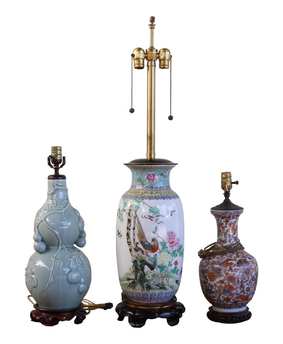 THREE (3) CHINESE PORCELAIN LAMPS
