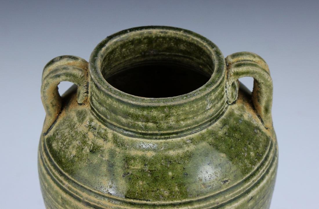 A CHINESE CELADON GLAZED TWO-HANDLE VASE - 2