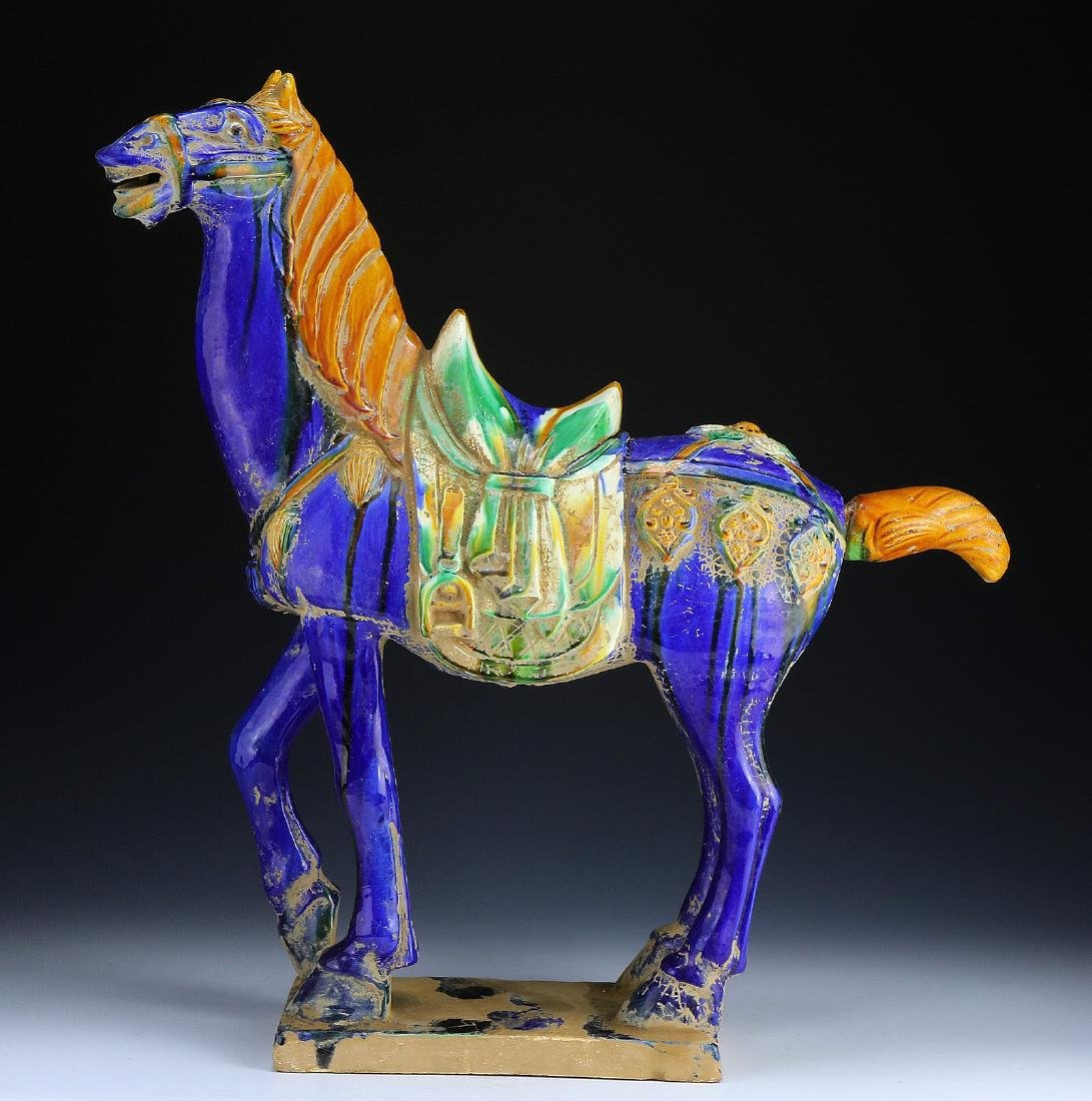 A BIG CHINESE POLYCHROME POTTERY HORSE