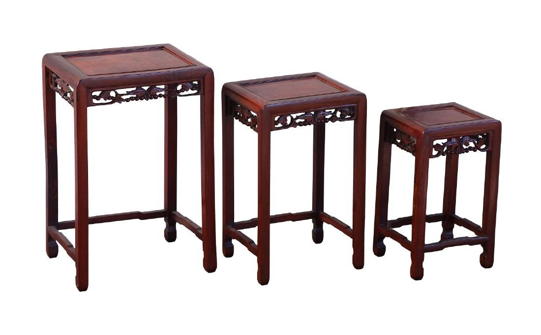THREE (3) CHINESE WOOD CARVED NESTED STANDS