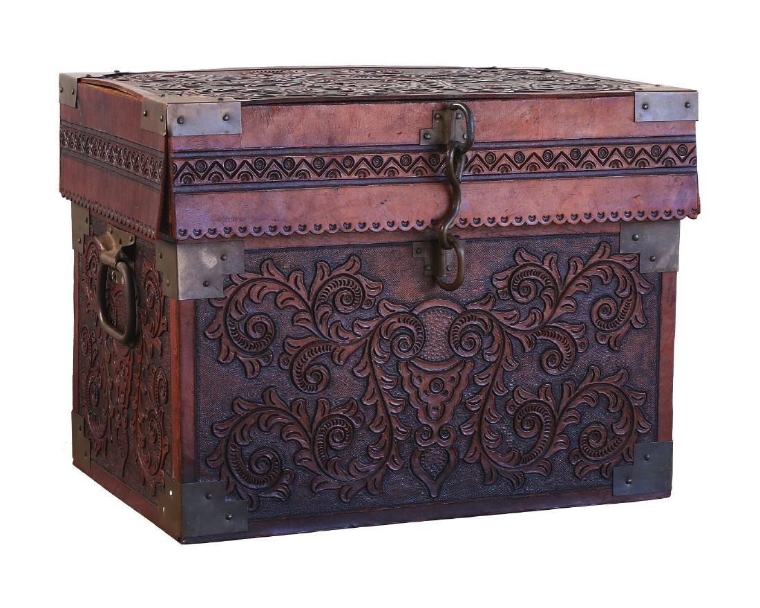 A CHINESE LEATHER & WOOD CHEST