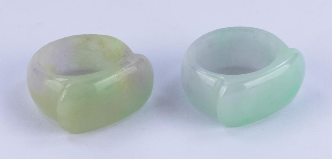 TWO (2) CHINESE JADEITE THUMB RINGS