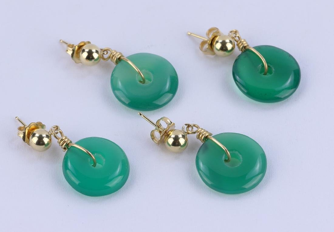 TWO (2) PAIR CHINESE AGATE EARRINGS