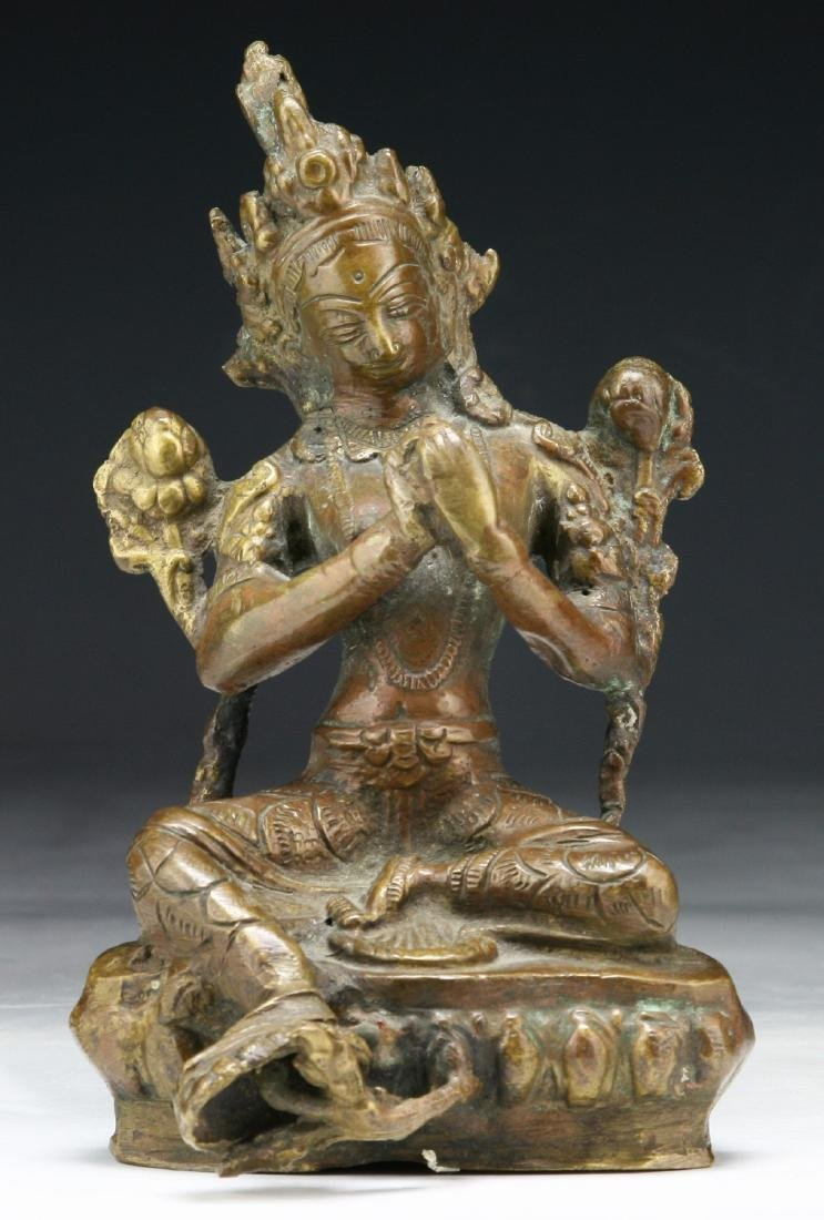 A CHINESE BRONZE FIGURE OF TARA