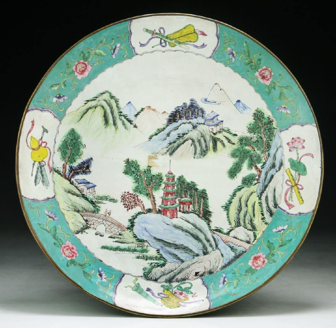 A Chinese Cloisonne On Bronze Plate
