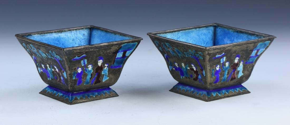PAIR CHINESE CLOISONNE SQUARED BOWLS