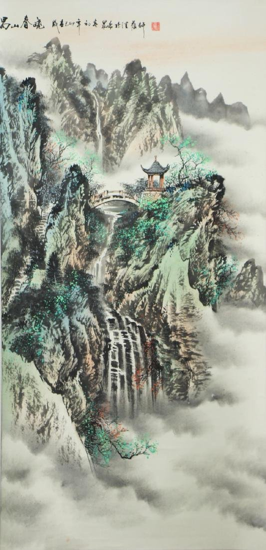A CHINESE HANGING PAPER SCROLL PAINTING