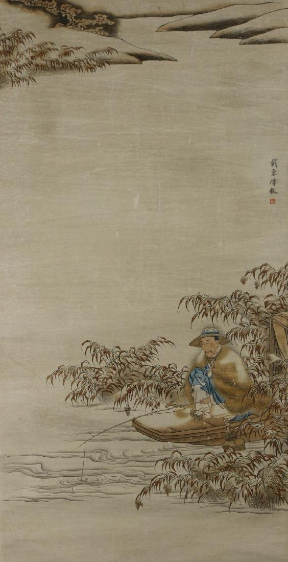 A CHINESE PAPER HANGING PAINTING SCROLL BY CHEN, MEI