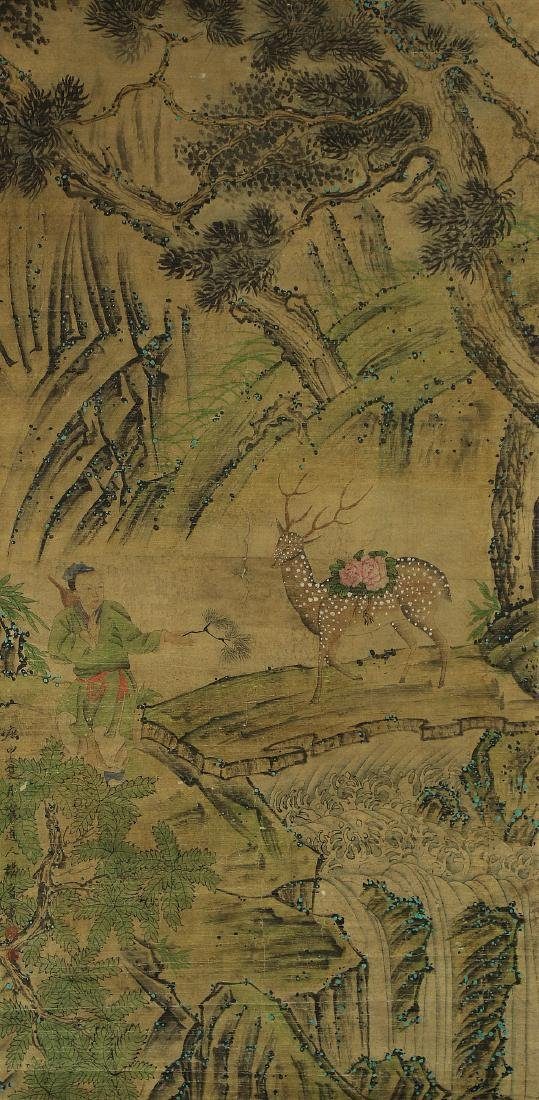 A CHINESE PAPER HANGING PAINTING SCROLL BY YANG, JIN
