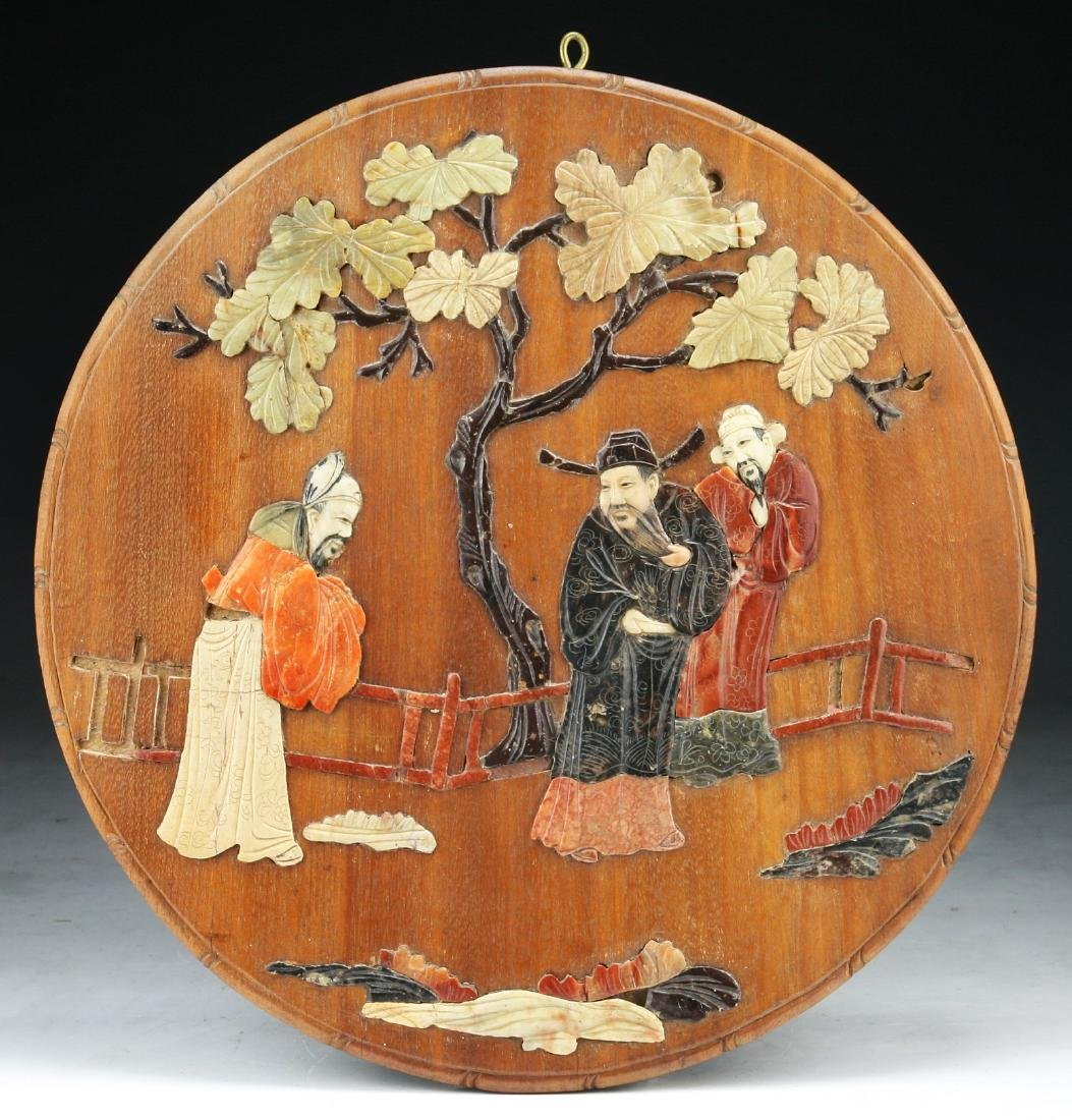 A CHINESE SHOUSHAN SOAPSTONE INLAID WOOD PLAQUE