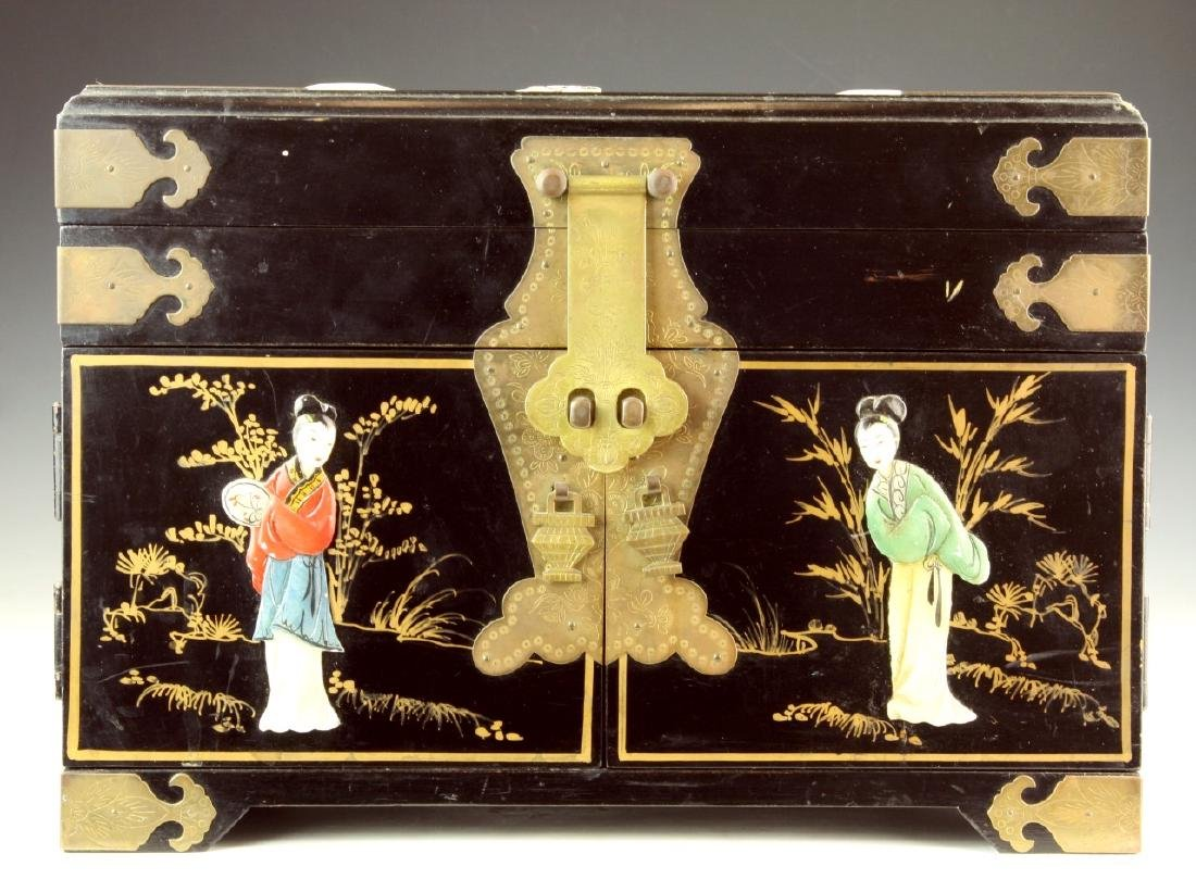 A Chinese Wood Carved Cosmetic Box
