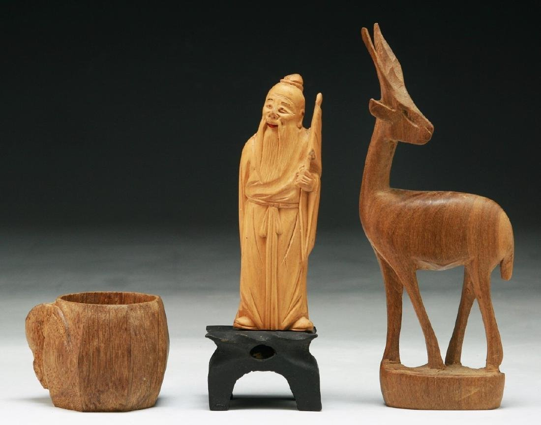 Three (3) Chinese Wood Figures & Cup