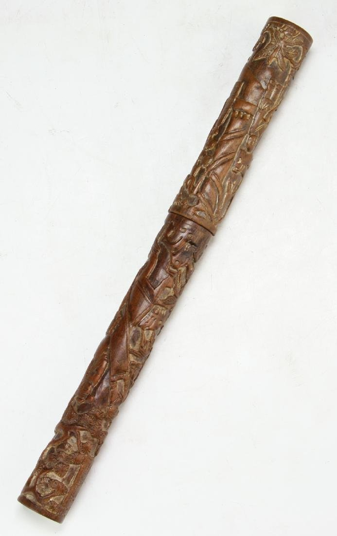 A Chinese Wood Carved Brush Stick