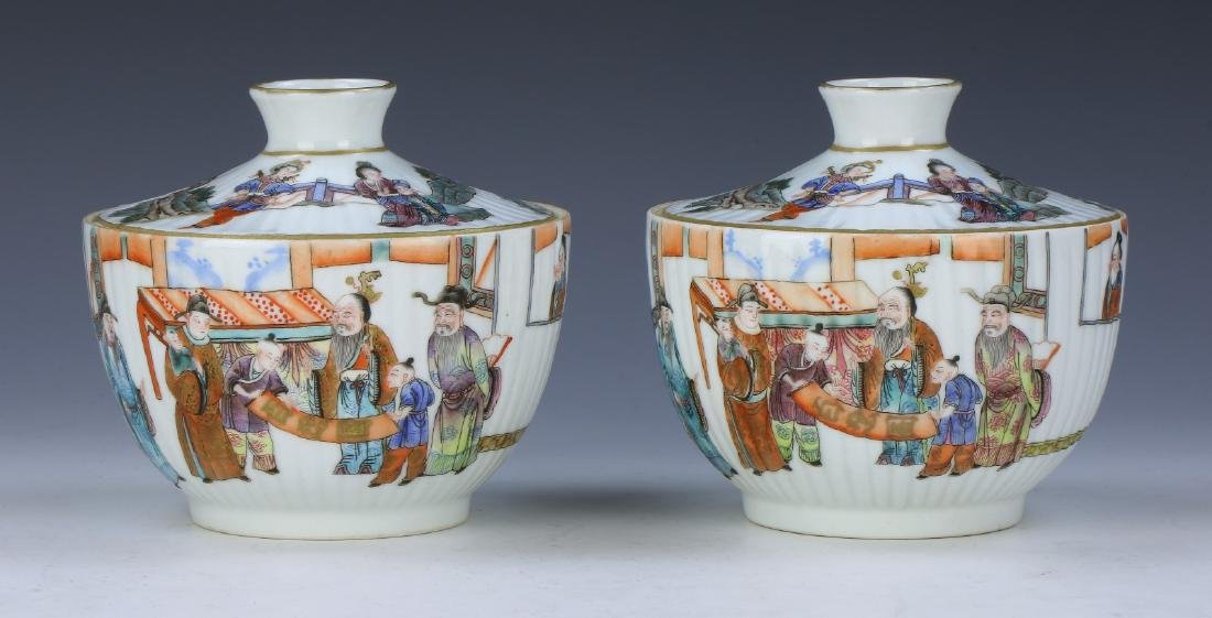 PAIR CHINESE FAMILLE ROSE LIDDED PORCELAIN BOWLS