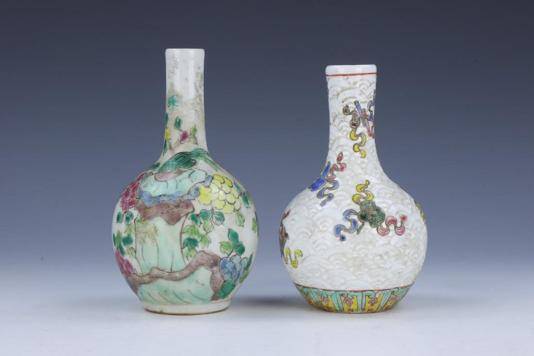 TWO (2) CHINESE FAMILLE ROSE PORCELAIN VASES