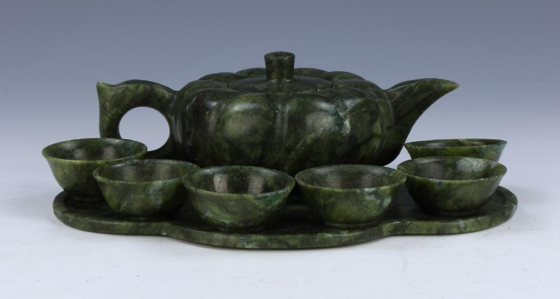 A SET OF EIGHT (8) CHINESE JADE TEASET
