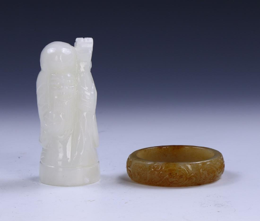 A CHINESE STONE CARVED SHOUXING & BANGLE
