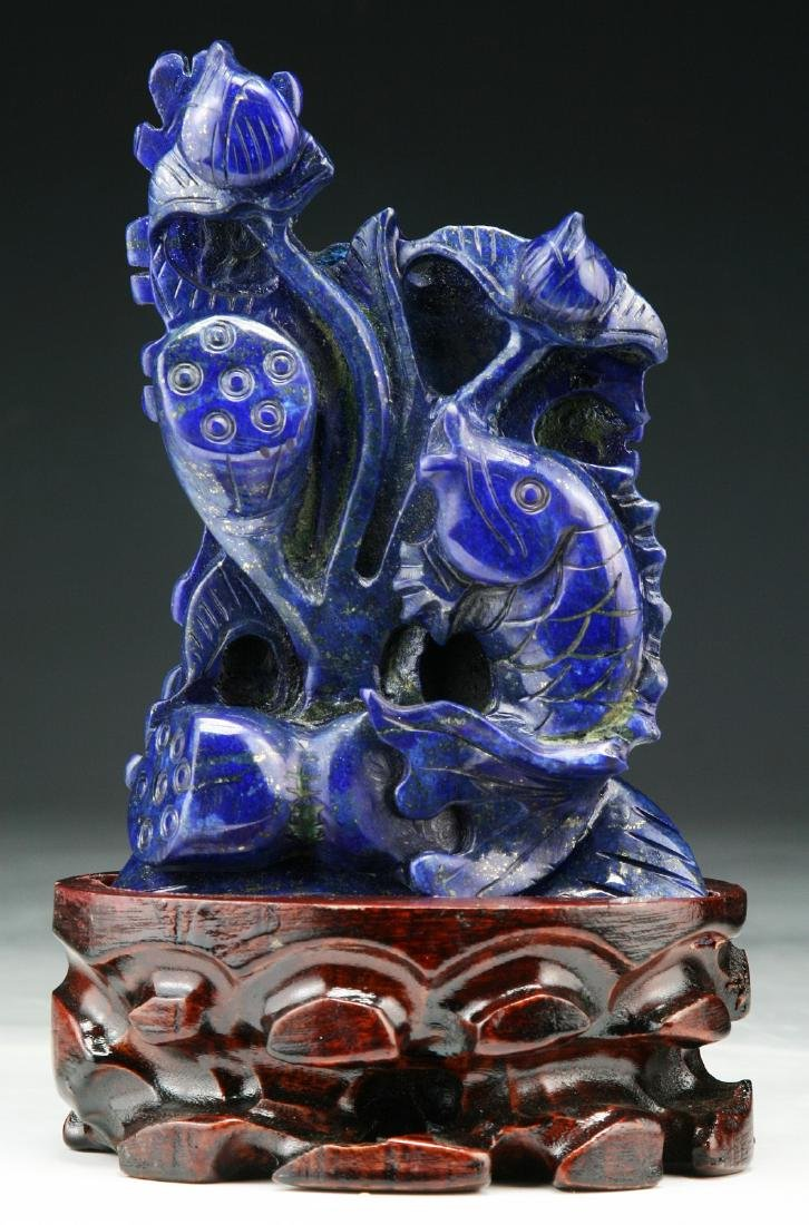 A CHINESE LAPIS LAZULI CARVING