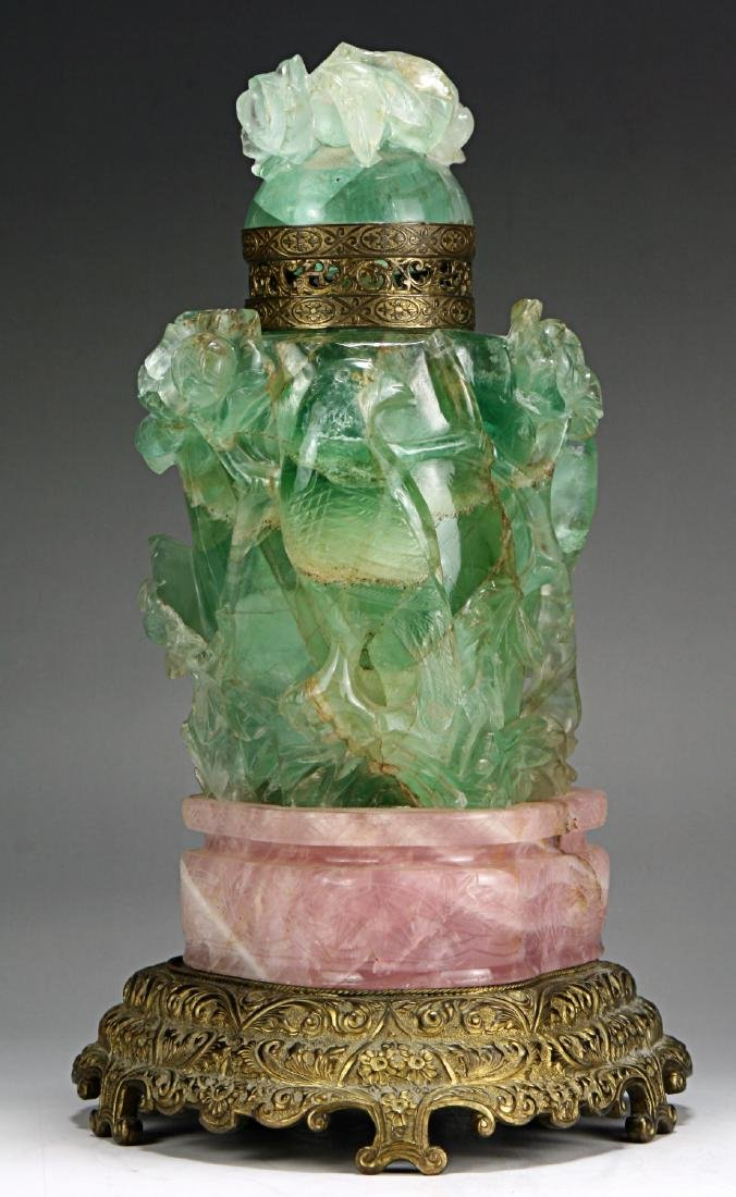 A Chinese Fluorite & Amethyst Carved Lidded Vase