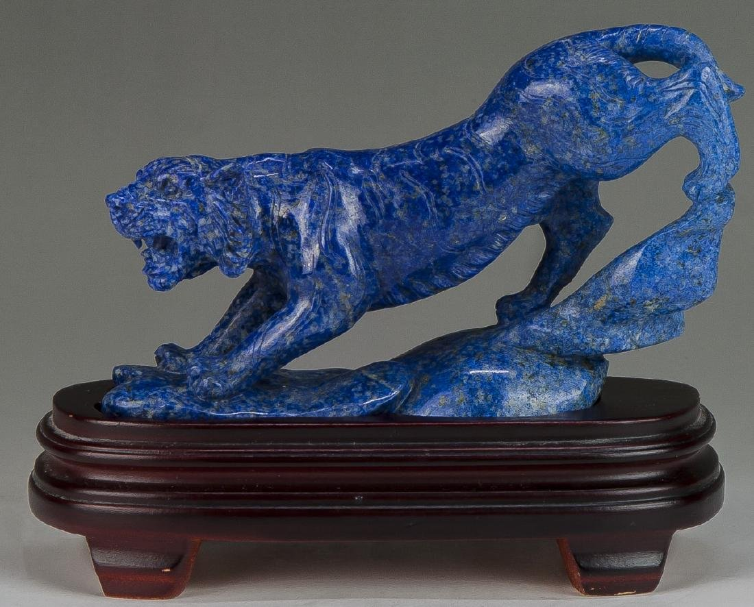 A Chinese Lapis Lazuli Carved Tiger