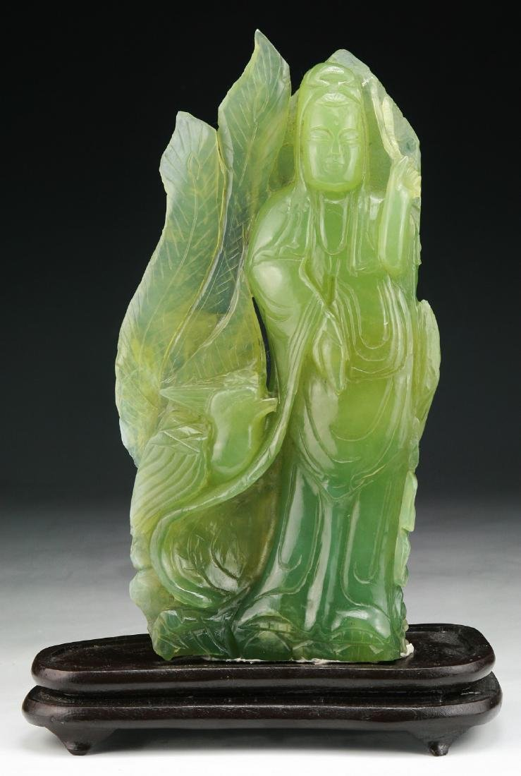 A CHINESE JADE CARVED GUANYIN