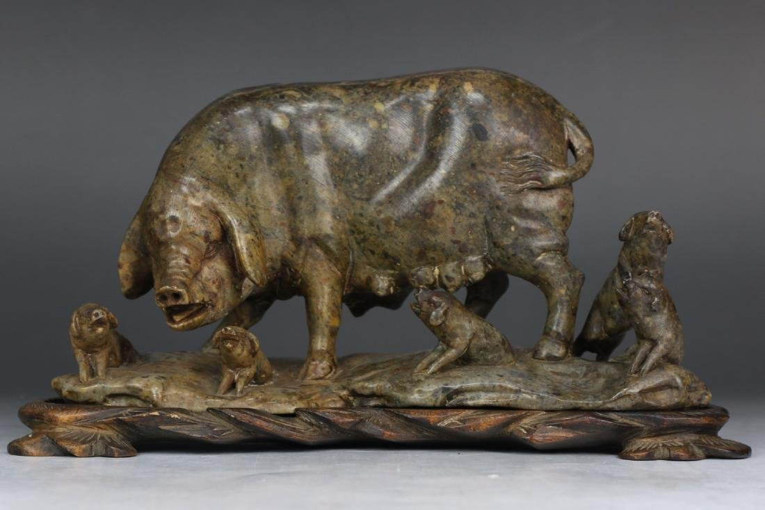 A Soapstone Carved Swine Group