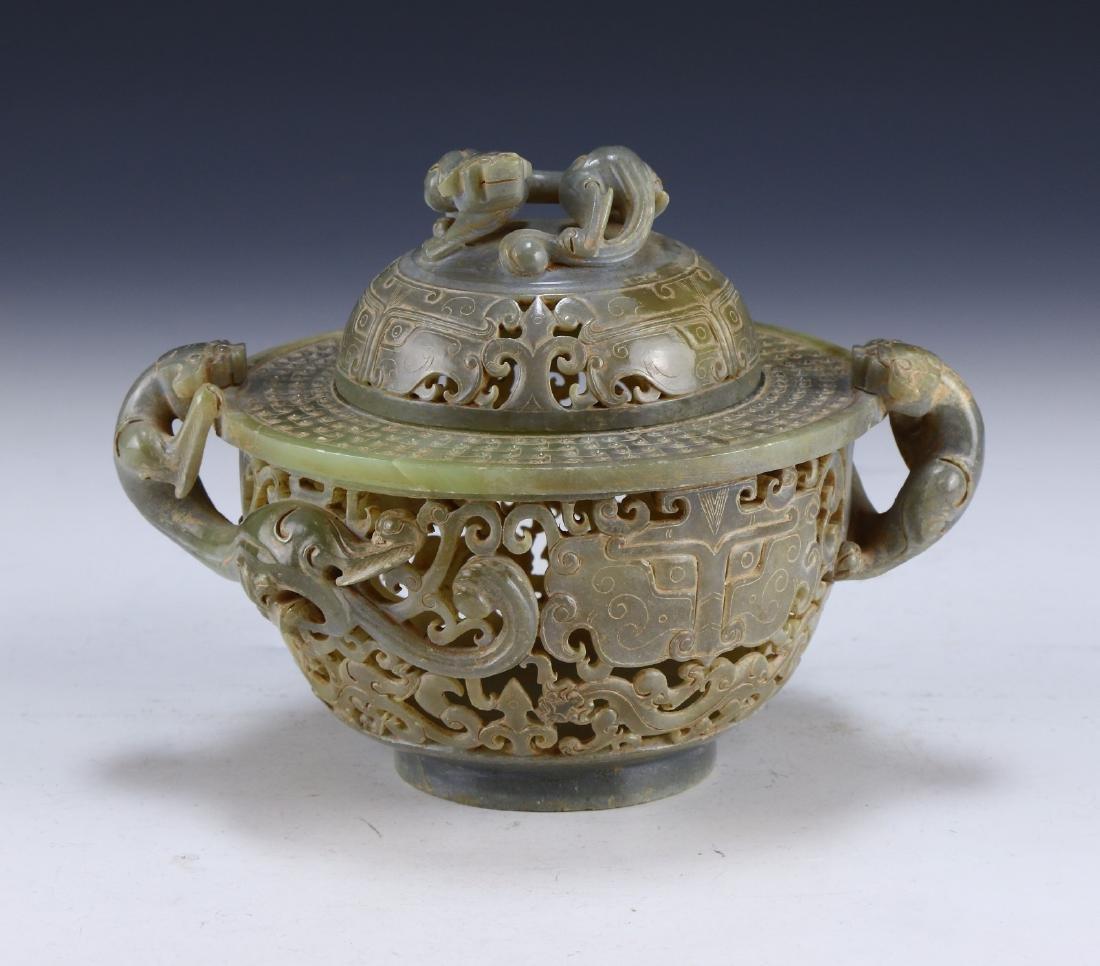 A CHINESE ARCHAIC JADE CARVED LIDDED CENSER