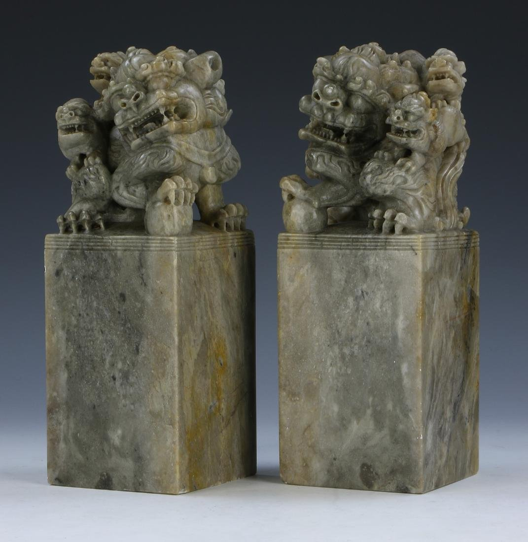 A PAIR OF CHINESE STONE SEALS