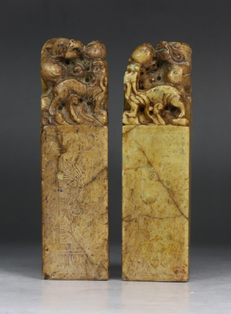 Pair Chinese Soapstone Carved Seals