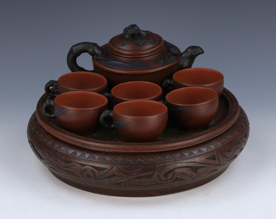 A CHINESE ZISHA TEA SET