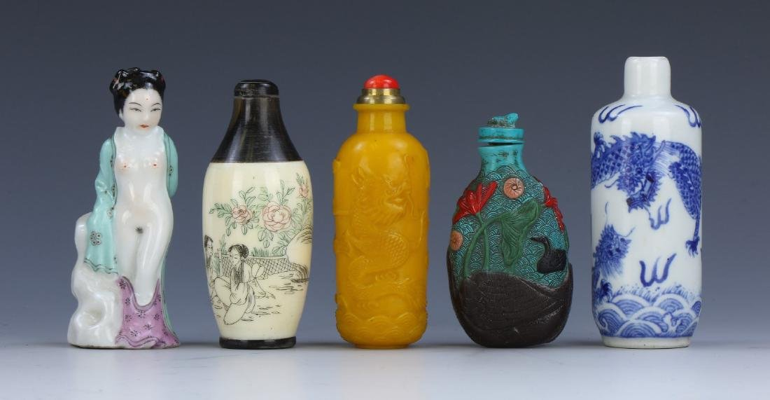 FIVE (5) CHINESE MIXED SNUFF BOTTLES