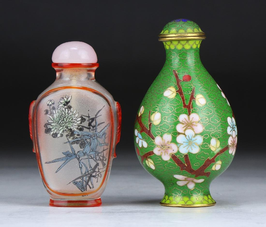 TWO (2) CHINESE MIXED SNUFF BOTTLES
