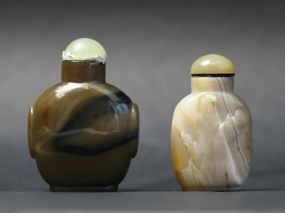 Two Chinese Carved Agate Snuff Bottles